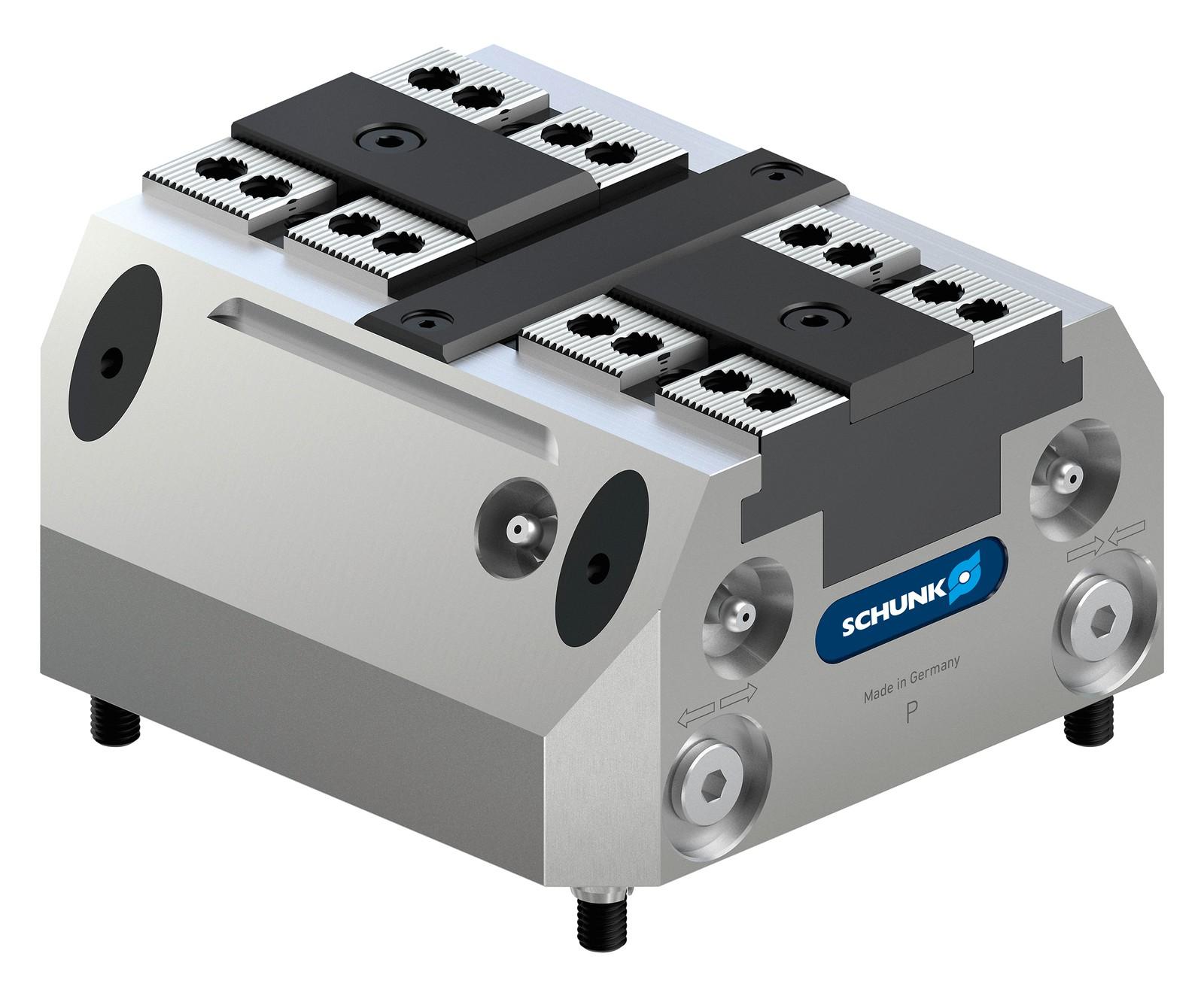Die kompakten Schunk Tandem plus 140 Kraftspannblöcke sind speziell auf die automatisierte Maschinenbeladung per Roboter zugeschnitten.